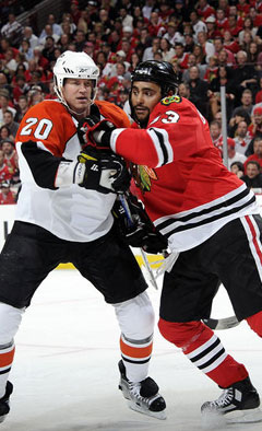Pronger and Byfuglien in Game 1