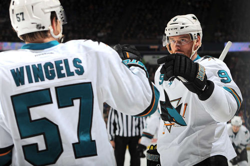 Tommy Wingels and Martin Havlat celebrate a goal against the Edmonton Oilers on March 25, 2014 (From NHL.com)