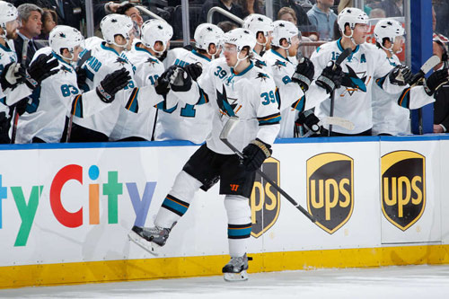 Logan Couture after scoring a short-handed goal against NY Rangers on March 16, 2014 (From NHL.com)
