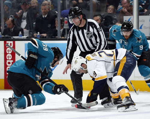 Logan Couture takes a faceoff during 3-0 loss to Nashville on April 5, 2014 (From NHL.com)